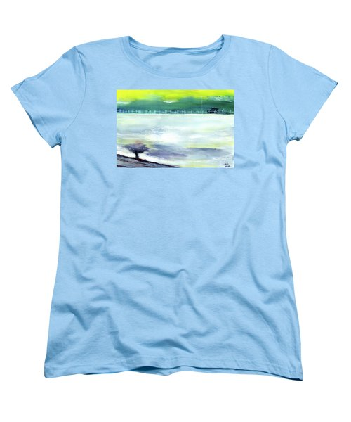 Women's T-Shirt (Standard Cut) featuring the painting Looking Beyond by Anil Nene
