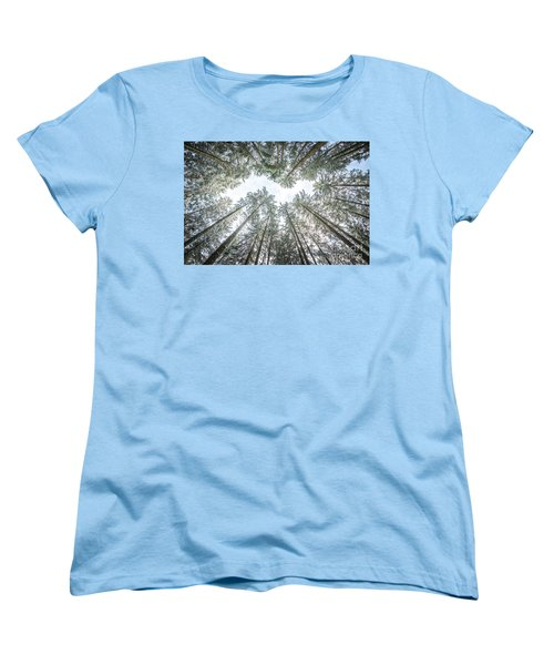 Women's T-Shirt (Standard Cut) featuring the photograph Looking Up In The Forest by Hannes Cmarits