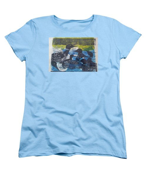 Women's T-Shirt (Standard Cut) featuring the mixed media Loon, I See by Cynthia Lagoudakis