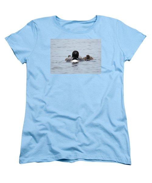 Loon With Chicks Women's T-Shirt (Standard Cut) by Sandra LaFaut