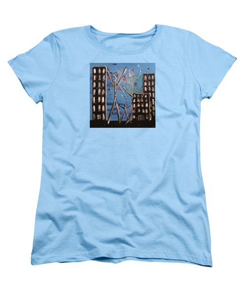 Women's T-Shirt (Standard Cut) featuring the painting Lost Cities 13-003 by Mario Perron