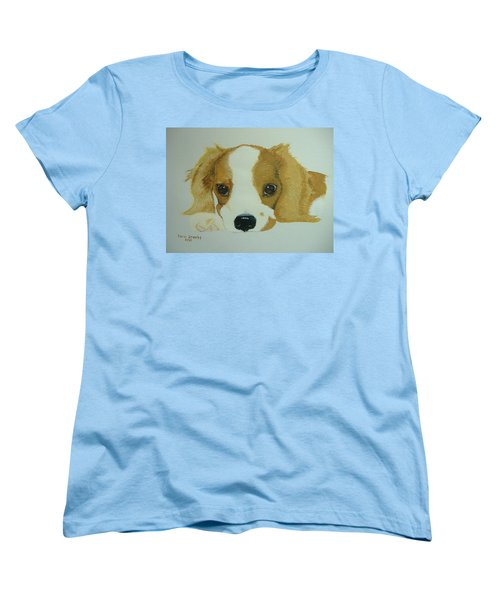 Women's T-Shirt (Standard Cut) featuring the painting Lovable Puppy by Norm Starks