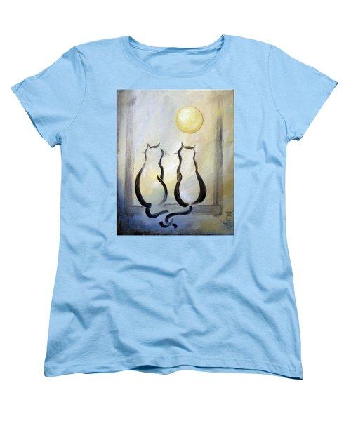 Love Moon Cats Women's T-Shirt (Standard Cut) by Dina Dargo