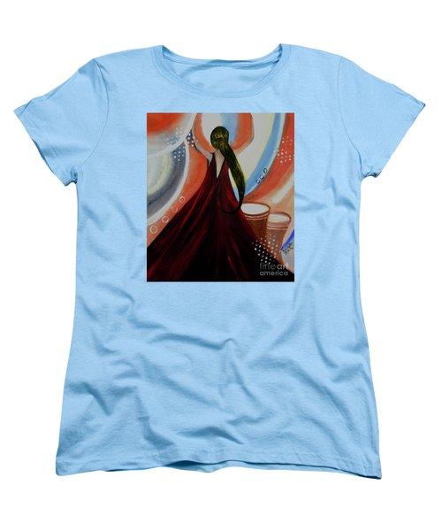Love To Dance Abstract Acrylic Painting By Saribelleinspirationalart Women's T-Shirt (Standard Cut)