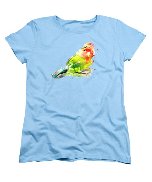 Lovebird Watercolor Painting Women's T-Shirt (Standard Cut) by Justyna JBJart