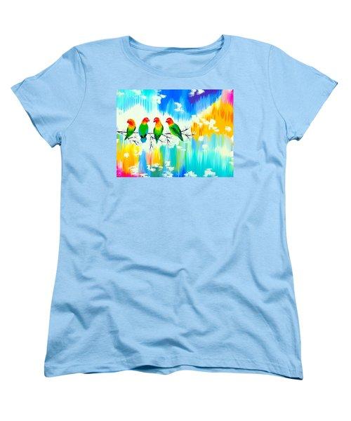 Lovebirds On A Branch Women's T-Shirt (Standard Cut) by Cathy Jacobs