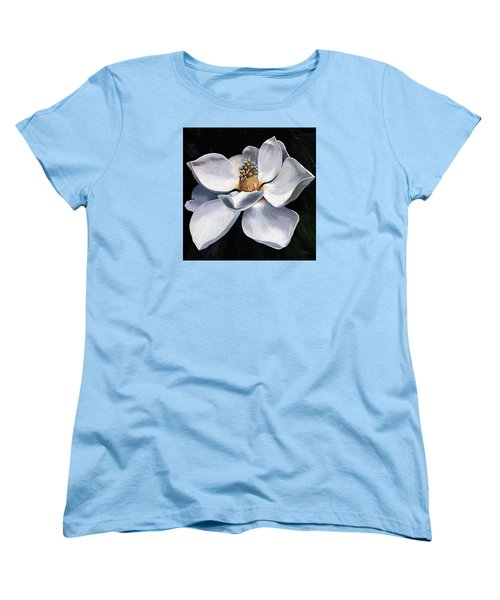 Women's T-Shirt (Standard Cut) featuring the painting Lovely In White - Painting Magnolia Flower  by Linda Apple