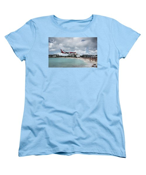 Low Landing At Sonesta Maho Beach Women's T-Shirt (Standard Cut) by Nick Mares