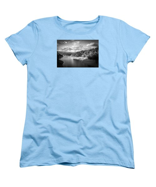 Women's T-Shirt (Standard Cut) featuring the photograph Low Sun Across The Nantahala River As The Clouds Clear Away by Kelly Hazel