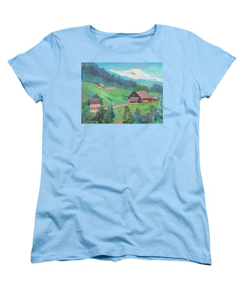 Women's T-Shirt (Standard Cut) featuring the painting Lucerne Countryside by Diane McClary