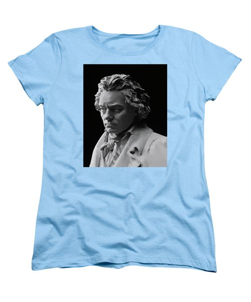 Women's T-Shirt (Standard Cut) featuring the mixed media Ludwig Van Beethoven by Daniel Hagerman