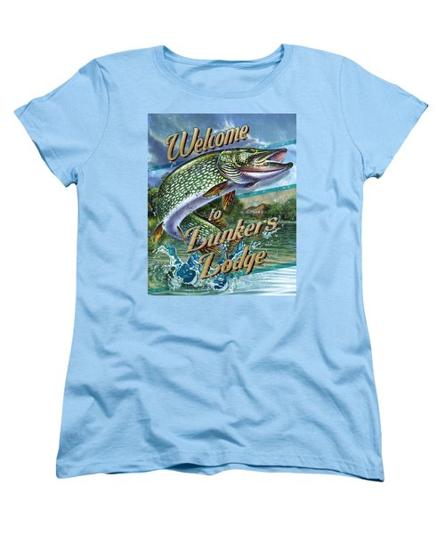 Women's T-Shirt (Standard Cut) featuring the painting Lunkers Lodge Sign by Jon Q Wright