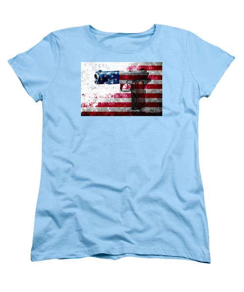 M1911 Colt 45 And American Flag On Distressed Metal Sheet Women's T-Shirt (Standard Cut) by M L C