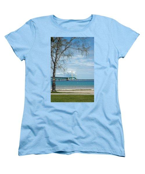 Women's T-Shirt (Standard Cut) featuring the photograph Mackinac Bridge Park by LeeAnn McLaneGoetz McLaneGoetzStudioLLCcom