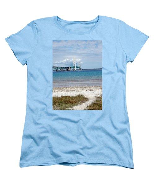 Women's T-Shirt (Standard Cut) featuring the photograph Mackinac Bridge Path To Lake by LeeAnn McLaneGoetz McLaneGoetzStudioLLCcom