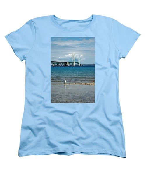 Women's T-Shirt (Standard Cut) featuring the photograph Mackinac Bridge Private Seagull Beach by LeeAnn McLaneGoetz McLaneGoetzStudioLLCcom