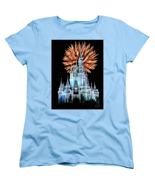 Magic Kingdom Castle In Frosty Light Blue With Fireworks 02 Mp Women's T-Shirt (Standard Cut) by Thomas Woolworth