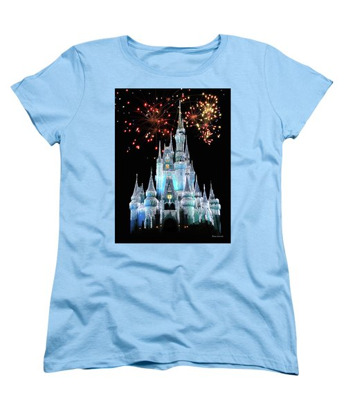 Magic Kingdom Castle In Frosty Light Blue With Fireworks 03 Mp Women's T-Shirt (Standard Cut) by Thomas Woolworth