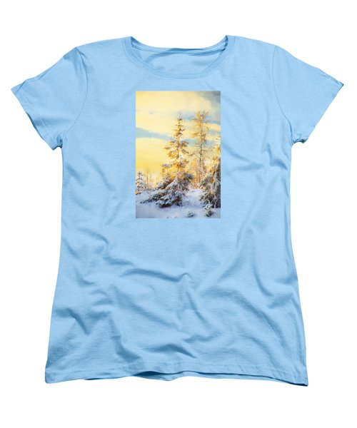 Women's T-Shirt (Standard Cut) featuring the photograph Magical Winter Landscape by Rose-Maries Pictures
