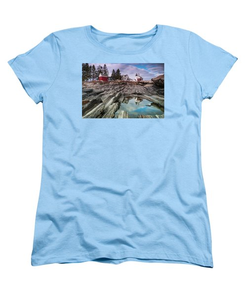 Maine Pemaquid Lighthouse Reflection Women's T-Shirt (Standard Cut) by Ranjay Mitra