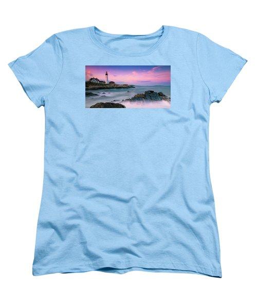 Maine Portland Headlight Lighthouse At Sunset Panorama Women's T-Shirt (Standard Cut) by Ranjay Mitra