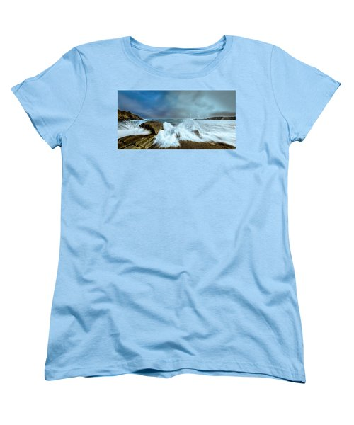 Maine Rocky Coast During Storm At Two Lights Women's T-Shirt (Standard Cut) by Ranjay Mitra