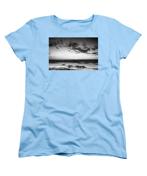 Maine Rocky Coast With Boulders And Clouds At Two Lights Park Women's T-Shirt (Standard Cut) by Ranjay Mitra