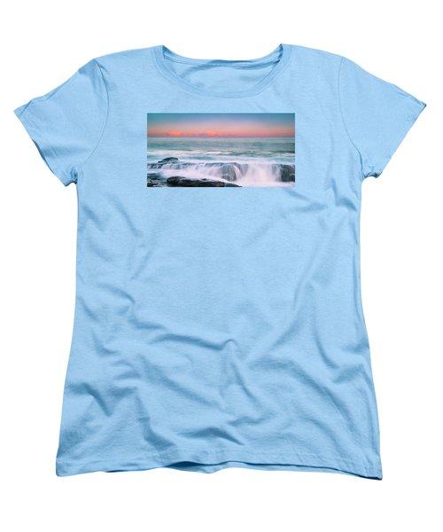 Maine Rocky Coastal Sunset Panorama Women's T-Shirt (Standard Cut) by Ranjay Mitra