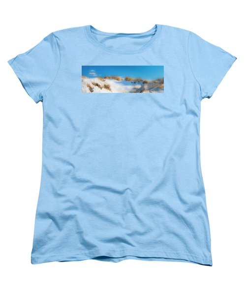 Maine Snow Dunes On Coast In Winter Panorama Women's T-Shirt (Standard Cut) by Ranjay Mitra