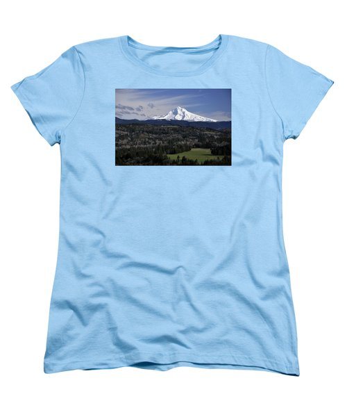Women's T-Shirt (Standard Cut) featuring the photograph Majestic Mt Hood by Jim Walls PhotoArtist