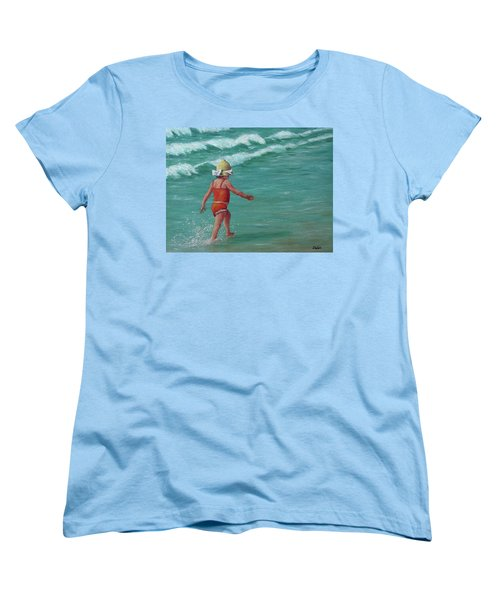 Women's T-Shirt (Standard Cut) featuring the painting Making A Splash   by Susan DeLain