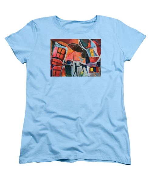 Women's T-Shirt (Standard Cut) featuring the painting Making Friends Under The Umbrella by Susan Stone