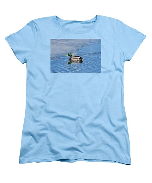 Women's T-Shirt (Standard Cut) featuring the photograph Male Mallard Duck by Michael Peychich