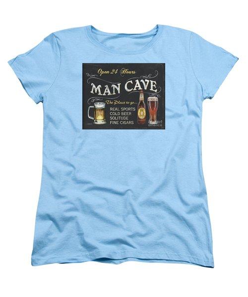 Man Cave Chalkboard Sign Women's T-Shirt (Standard Cut) by Debbie DeWitt