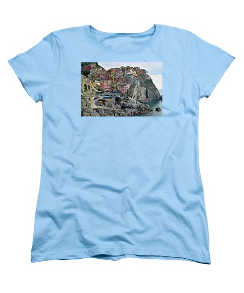Women's T-Shirt (Standard Cut) featuring the photograph Manarola Version Two by Frozen in Time Fine Art Photography