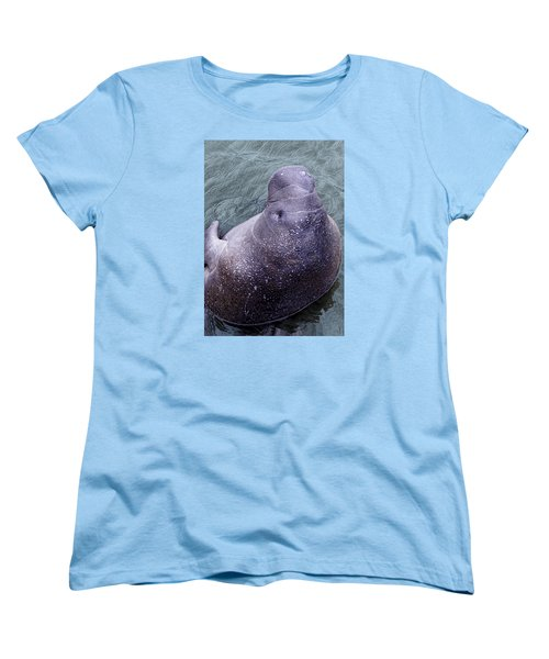 Manatee Seen From Dock- Up Close And Personal Women's T-Shirt (Standard Cut) by Penny Lisowski