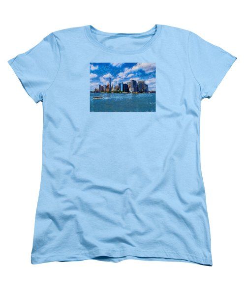 Manhattan Skyline Women's T-Shirt (Standard Cut) by Kai Saarto