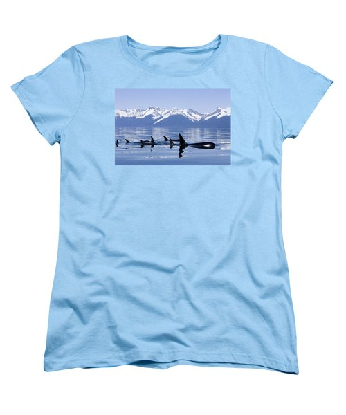 Many Orca Whales Women's T-Shirt (Standard Cut) by John Hyde - Printscapes