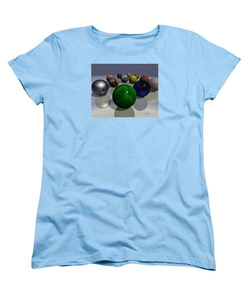 Women's T-Shirt (Standard Cut) featuring the digital art Marbles by Walter Chamberlain