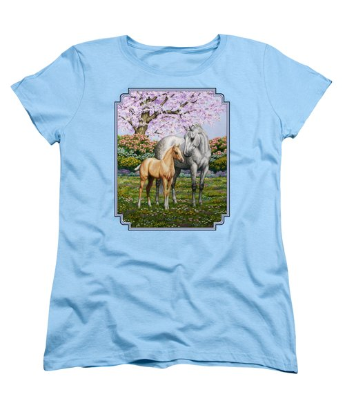 Mare And Foal Pillow Blue Women's T-Shirt (Standard Cut) by Crista Forest
