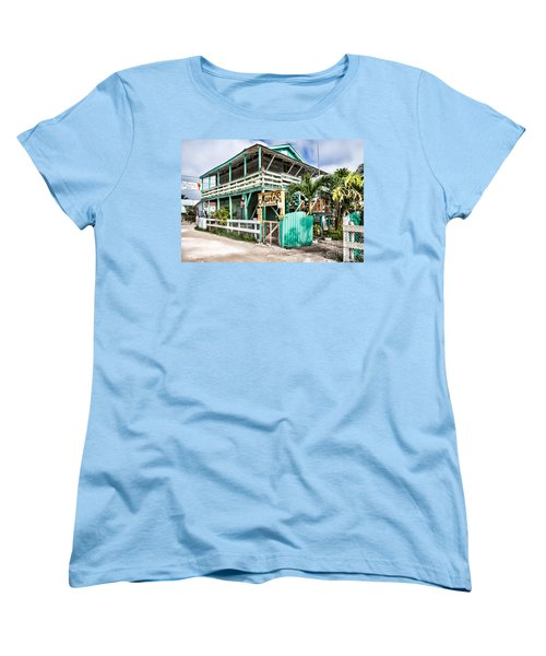 Women's T-Shirt (Standard Cut) featuring the photograph Marin's On Caye Caulker by Lawrence Burry