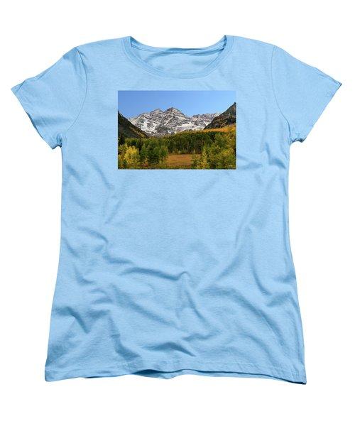 Maroon Bells Women's T-Shirt (Standard Cut) by Dana Sohr