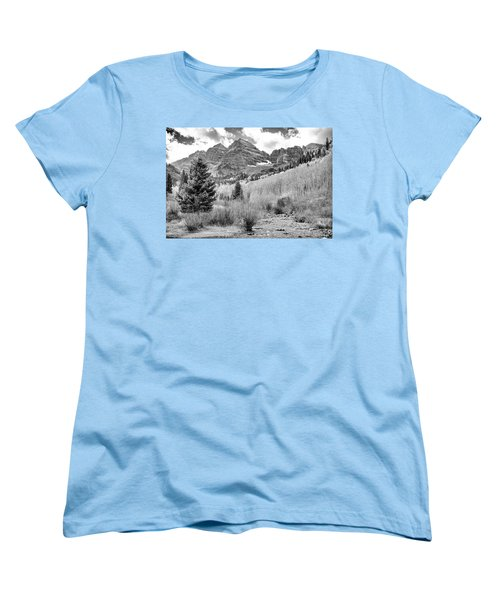 Women's T-Shirt (Standard Cut) featuring the photograph Maroon Bells Monochrome by Eric Glaser