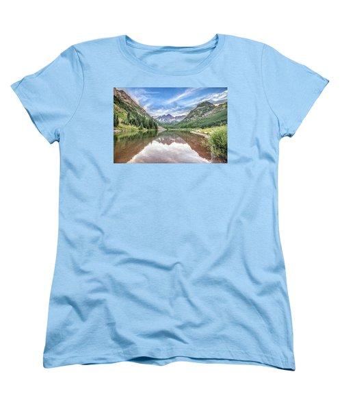 Women's T-Shirt (Standard Cut) featuring the photograph Maroon Bells Near Aspen, Colorado by Peter Ciro