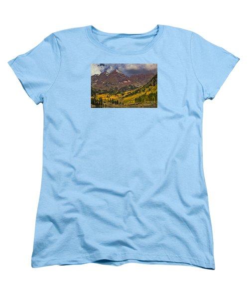 Maroon Bells Women's T-Shirt (Standard Cut) by Steven Parker