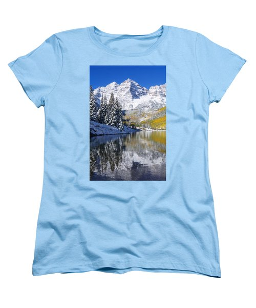 Maroon Lake And Bells 2 Women's T-Shirt (Standard Cut) by Ron Dahlquist - Printscapes