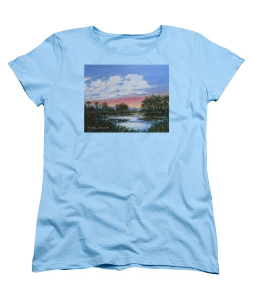 Women's T-Shirt (Standard Cut) featuring the painting Marsh Reflections by Kathleen McDermott