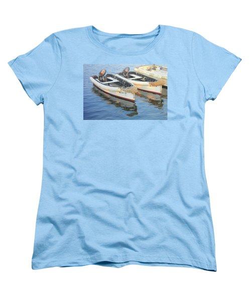 Women's T-Shirt (Standard Cut) featuring the photograph Martha's Vinyard Skiffs by Roupen  Baker