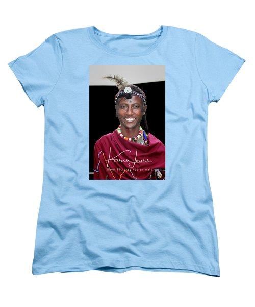 Women's T-Shirt (Standard Cut) featuring the photograph Masai Warrior by Karen Lewis