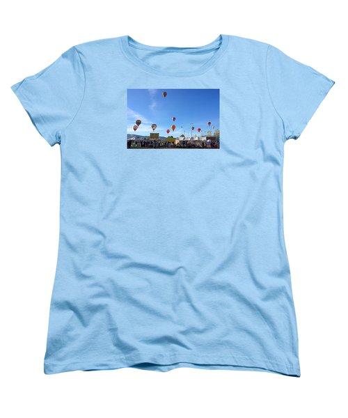 Women's T-Shirt (Standard Cut) featuring the photograph Mass Ascension Taos Balloon Festival by Brenda Pressnall
